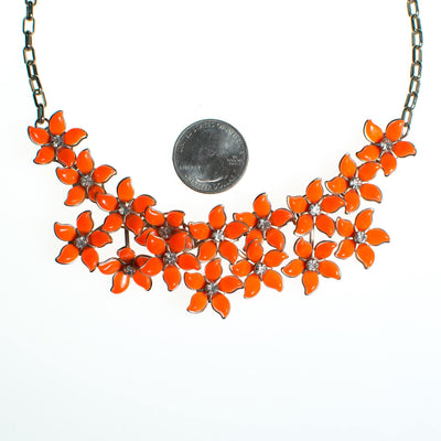 Vintage Orange Thermoset Flower Necklace, Orange Lucite Flowers, Silver Tone Chain, Rhinestones, Fish Hook Clasp by 1950s - Vintage Meet Modern - Chicago, Illinois