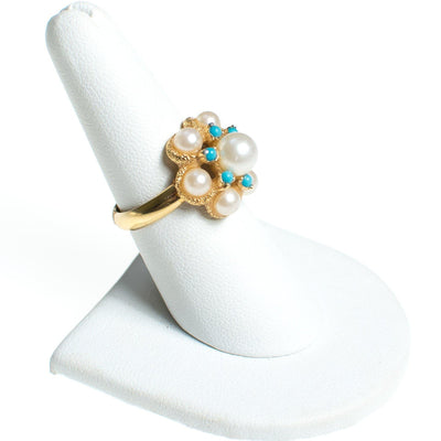 Vintage 1970s Avon Faux Pearl and Turquoise Bead Adjustable Cocktail Statement Ring by Avon - Vintage Meet Modern - Chicago, Illinois