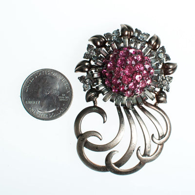 Vintage Pennino Sterlin Silver Brooch, Pink and Clear Rhinestones, Silver Tone Setting, Brooches and Pins