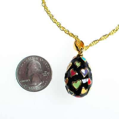 Vintage Joan Rivers Heart Imperia Egg Pendant Black Pendant with colorful Hearts Gold Tone Chain Lobster Clasp