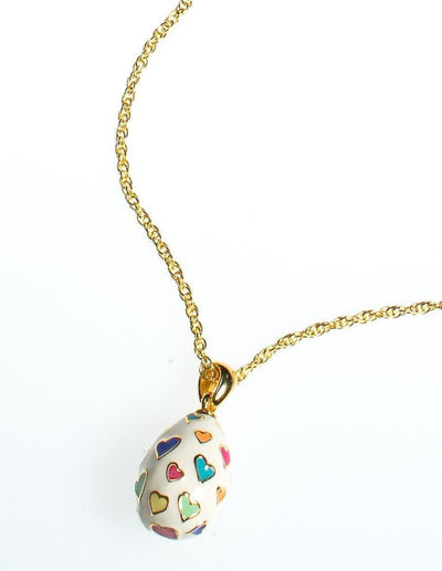 Joan Rivers Heart Imperial Egg Pendant, White Pendant with colorful Hearts, Gold Tone Chain, Lobster Clasp