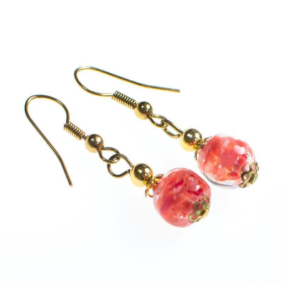 Vintage Gold Tone Dangle Earrings, Pink Murano Glass Beads, Pierced by 1980s - Vintage Meet Modern Vintage Jewelry - Chicago, Illinois - #oldhollywoodglamour #vintagemeetmodern #designervintage #jewelrybox #antiquejewelry #vintagejewelry