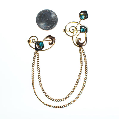 Vintage 1940s Van Dell Chatelaine Brooch, Blue Rhinestones, Gold Tone Setting, Brooches and Pins