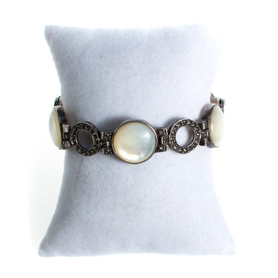Vintage Mother of Pearl Disc and Marcasite Sterling Silver Bracelet