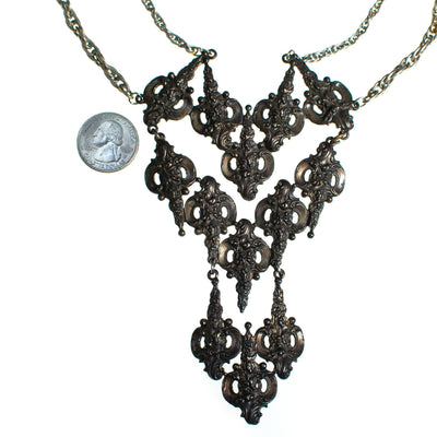 Vintage Victorian Gothic Revival Silver Statement Necklace by 1970s - Vintage Meet Modern - Chicago, Illinois