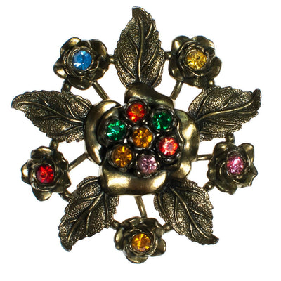 Vintage Little Nemo Floral Brooch with Colorful Rainbow Rhinestones, Gold Tone Setting, Brooches and Pins by Little Nemo - Vintage Meet Modern - Chicago, Illinois