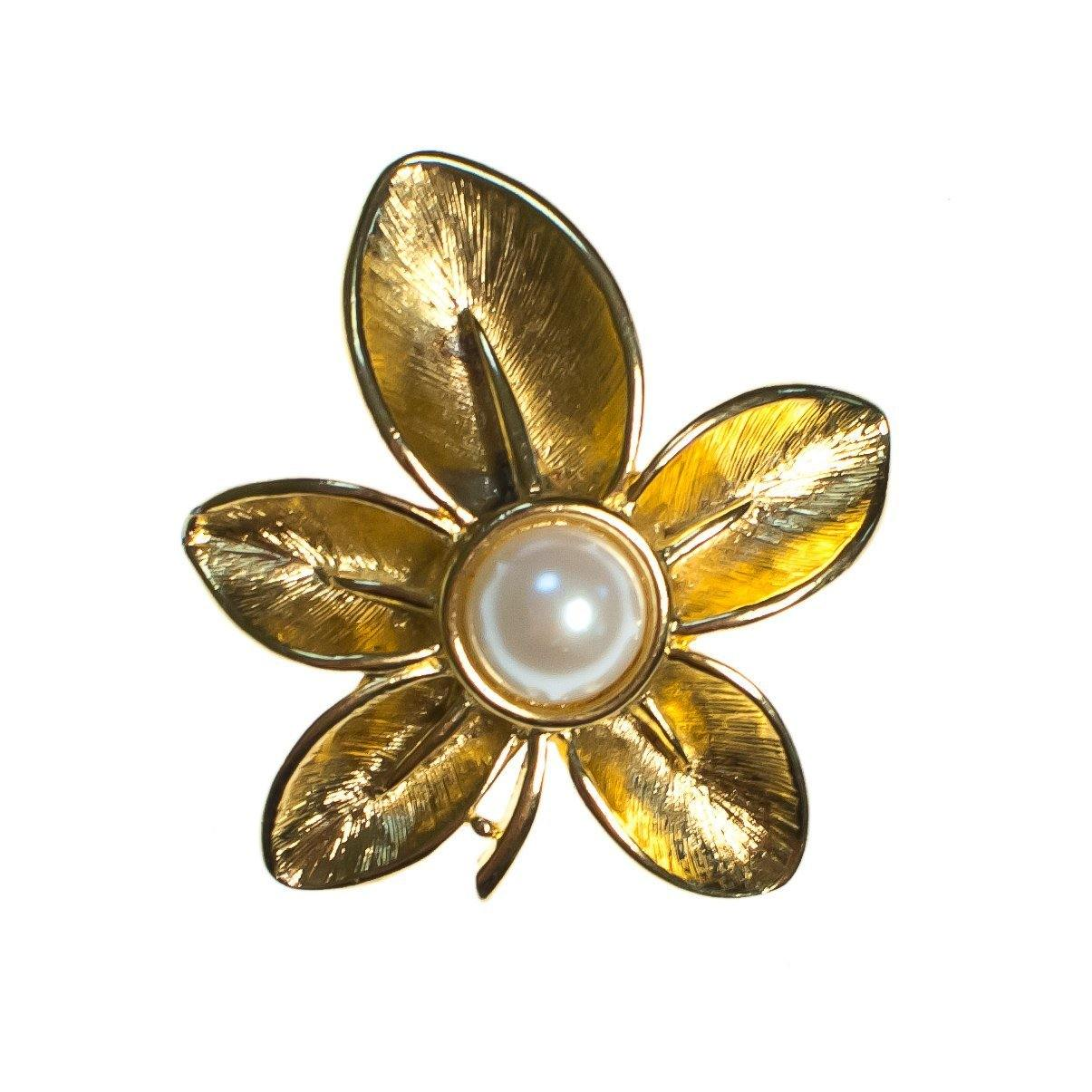 1e1f62ab8 Vintage Napier Flower Brooch, Faux Pearl, Gold Tone Setting, Brooches and  Pins