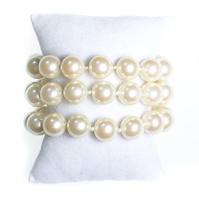 Vintage Triple Strand Faux Pearl Bracelet, Multi-strand, Slide Lock by Pearls - Vintage Meet Modern - Chicago, Illinois