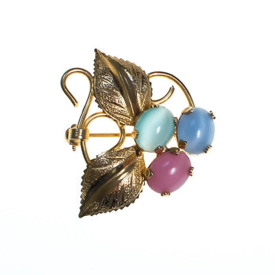 Vintage Flower Brooch, Pink, Green, and Blue Cats Eye Cabochons, Gold Tone Setting, Brooches and Pins by 1950s - Vintage Meet Modern - Chicago, Illinois