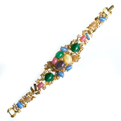 Vintage Colorful Pastel Cabochon Bracelet, Pink, Blue, Green, Yellow, Purple, Faux Pearls, Gold Tone Bracelet, Snap Lock by 1950s - Vintage Meet Modern - Chicago, Illinois