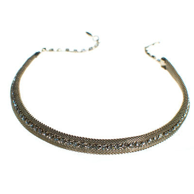 Vintage 1960s Gold Mesh Choker Necklace with Rhinestones, Diamante Crystals, Gold Tone Setting, Fish Hook Clasp by 1960s - Vintage Meet Modern - Chicago, Illinois