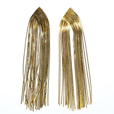 Vintage 1970s Gold Tone Waterfall Tassel Chandelier Dangle Statement Earrings, Posts - Vintage Meet Modern  vintage.meet.modern.jewelry