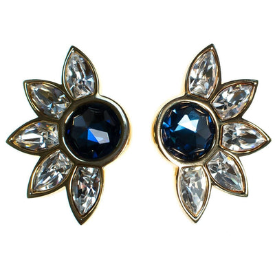 Vintage Swarovski Huge Sapphire Blue and Diamante Crystal Earrings, Blue Rhinestone, Gold Tone Setting, Clip-on by Swarovski - Vintage Meet Modern Vintage Jewelry - Chicago, Illinois - #oldhollywoodglamour #vintagemeetmodern #designervintage #jewelrybox #antiquejewelry #vintagejewelry