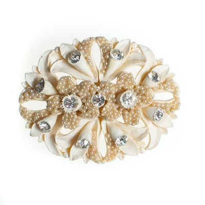 Vintage Ivory Celluloid Brooch, Faux Pearls, Diamante Crystals, Brooches and Pins