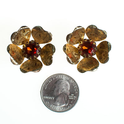 Vintage Sarah Coventry Flower Earrings, Amber Brown Rhinestone Center, Gold Tone Setting, Clip-on Earrings