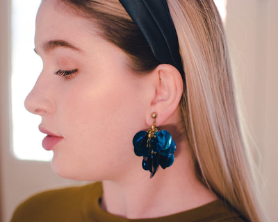 Vintage Teal Blue Sequin Earrings, Dangle, Gold Tone Setting, Clip-on by 1960s - Vintage Meet Modern - Chicago, Illinois