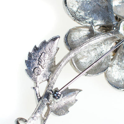 Vintage 1950s Coro Silver Flower Brooch with Light Blue Rhinestones, Silver Tone Setting, Brooches and Pins by Coro - Vintage Meet Modern - Chicago, Illinois