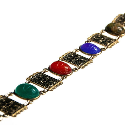 Vintage Scarab and Damascene Bracelet, Green, Red, Blue, and Green Gemstones, Gold Tone Setting, Snap Lock Clasp by Damascene - Vintage Meet Modern - Chicago, Illinois