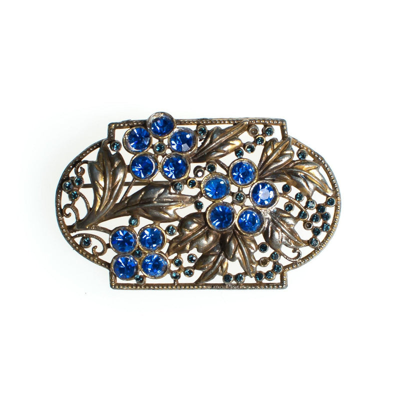1bbd8352f9e6b Vintage Czech Floral Brooch with Blue Rhinestones, Gold Tone Setting,  Brooches and Pins