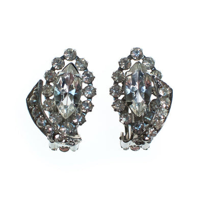 Vintage Art Deco Marquise and Brilliant Rhinestone Statement Earrings by 1950s - Vintage Meet Modern Vintage Jewelry - Chicago, Illinois - #oldhollywoodglamour #vintagemeetmodern #designervintage #jewelrybox #antiquejewelry #vintagejewelry