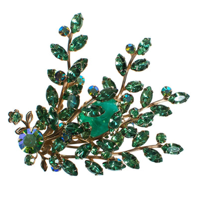 Vintage Light Green Rhinestone and Molted Green Art Glass Cabochon Spray Style Brooch