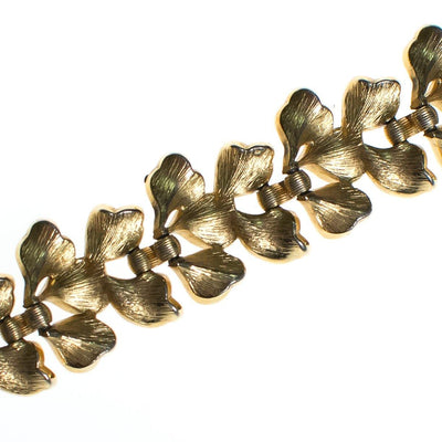 Vintage Crown Trifari Mid Century Modern Gold Leaves Bracelet