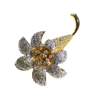Vintage Kenneth Jay Lane Gilded Lily Flower Brooch, Gold and Silver Tone Setting, Diamante Crystals