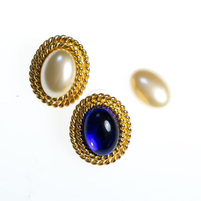 Vintage Kenneth Jay Lane Interchangeable Earrings Set, Gold Tone Setting, Gold, Blue, Red, Black, Faux Pearl, Oval Shape Pierced
