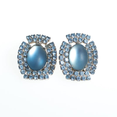 Vintage 1950s Retro Glam Frosted Cinderella Blue Rhinestone Statement Earrings, Clip On by 1950s - Vintage Meet Modern Vintage Jewelry - Chicago, Illinois - #oldhollywoodglamour #vintagemeetmodern #designervintage #jewelrybox #antiquejewelry #vintagejewelry
