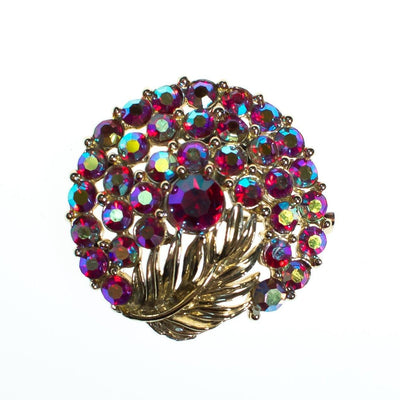 Vintage Round Brooch, Pink Iridescent Aurora Borealis Rhinestones, Gold Tone Leaf, Golf Tone Setting, Brooches and Pins