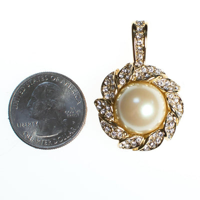 Vintage Kenneth Jay Lane Pendant Pastel Interchangeable Faux Pearls, Diamante Crystals, Gold Tone Setting by Kenneth Jay Lane - Vintage Meet Modern Vintage Jewelry - Chicago, Illinois - #oldhollywoodglamour #vintagemeetmodern #designervintage #jewelrybox #antiquejewelry #vintagejewelry