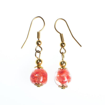 Vintage Gold Tone Dangle Earrings, Pink Murano Glass Beads, Pierced by 1980s - Vintage Meet Modern - Chicago, Illinois