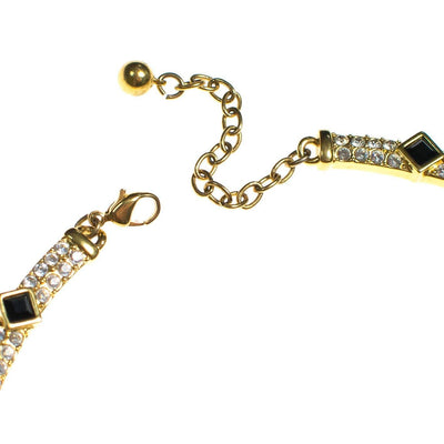 Vintage Napier Necklace, Diamante Crystals, Jet Black Rhinestones, Gold Tone Setting. Lobster Claw Clasp