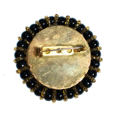 Vintage Brooch, Black Lucite Beads, Gold Glass Beads, Gold Tone Setting, Brooches and Pins by 1950s - Vintage Meet Modern Vintage Jewelry - Chicago, Illinois - #oldhollywoodglamour #vintagemeetmodern #designervintage #jewelrybox #antiquejewelry #vintagejewelry