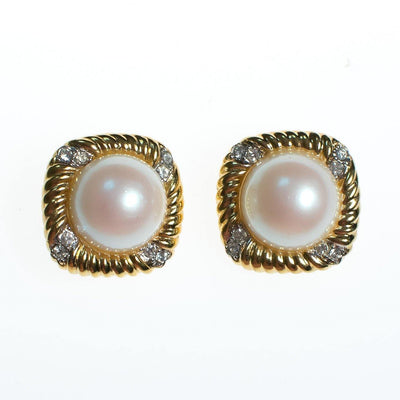 Vintage Nina Ricci Pearl, Diamante Crystals, Statement Earrings Gold Tone Setting, Clip-on by Nina Ricci - Vintage Meet Modern Vintage Jewelry - Chicago, Illinois - #oldhollywoodglamour #vintagemeetmodern #designervintage #jewelrybox #antiquejewelry #vintagejewelry