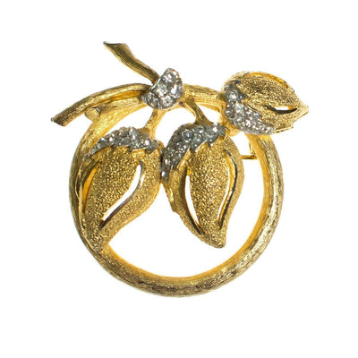 Vintage BSK Flower Brooch, Diamante Crystals, Brushed Gold Tone Setting, Brooches and Pins by BSK - Vintage Meet Modern - Chicago, Illinois