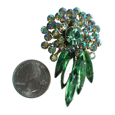 Vintage Judy Lee Green Aurora Borealis Rhinestone Brooch by Judy Lee - Vintage Meet Modern - Chicago, Illinois