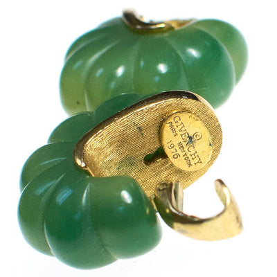 Vintage 1970s Givenchy Couture Light Green Bakelite Domed Fluted Cabochon Modernist Statement Earrings by Givenchy - Vintage Meet Modern Vintage Jewelry - Chicago, Illinois - #oldhollywoodglamour #vintagemeetmodern #designervintage #jewelrybox #antiquejewelry #vintagejewelry