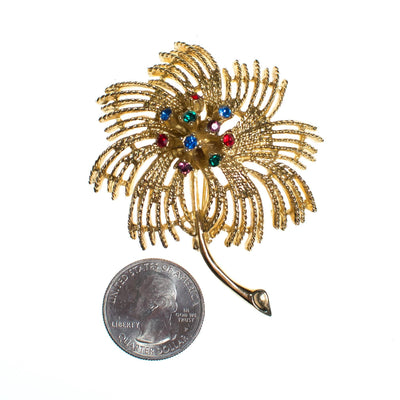 Vintage Sarah Coventry Gold Flower Brooch with Purple, Blue, Green, and Red Rhinestones, Gold Tone Setting, Brooches and Pins