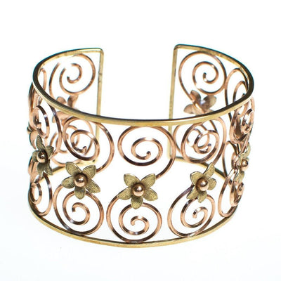 Vintage Krementz Rose and Yellow Gold Floral Scroll Cuff Bracelet by Krementz - Vintage Meet Modern Vintage Jewelry - Chicago, Illinois - #oldhollywoodglamour #vintagemeetmodern #designervintage #jewelrybox #antiquejewelry #vintagejewelry