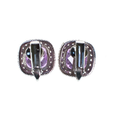 Vintage Pave Diamante Crystal and Light Amethyst Purple Soft Squared Statement Earrings by 1990s - Vintage Meet Modern Vintage Jewelry - Chicago, Illinois - #oldhollywoodglamour #vintagemeetmodern #designervintage #jewelrybox #antiquejewelry #vintagejewelry