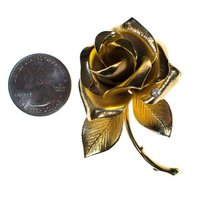 Vintage Giovanni Gold Rose Brooch, Flower Brooch, Gold Tone Setting, Brooches and Pins by Giovanni - Vintage Meet Modern - Chicago, Illinois
