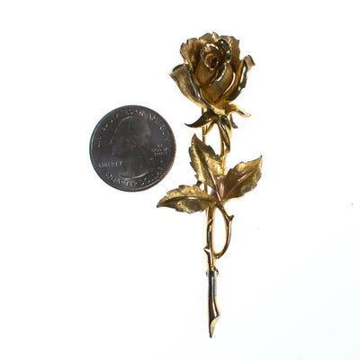 Vintage Boucher Long Stem Gold Rose Brooch, Gold Tone Setting, Brooches and Pins by Boucher - Vintage Meet Modern - Chicago, Illinois