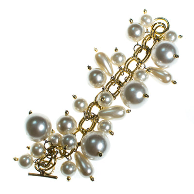 Vintage 1960s Huge Pearl Bauble Charm Bracelet Bracelet, Gold Tone Setting, Round and Tear Drop Faux Pearls, Toggle Clasp