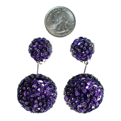 Vintage 1960s Purple Sequin Bon Bon Statement Earrings, Dangle, Purple Sequins, Clear Beads, Clip-on by 1960s - Vintage Meet Modern - Chicago, Illinois