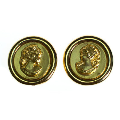 Vintage Gold Coin Earrings with Ladies Silhouette Earrings, Gold Tone, Clip-on by 1980s - Vintage Meet Modern Vintage Jewelry - Chicago, Illinois - #oldhollywoodglamour #vintagemeetmodern #designervintage #jewelrybox #antiquejewelry #vintagejewelry