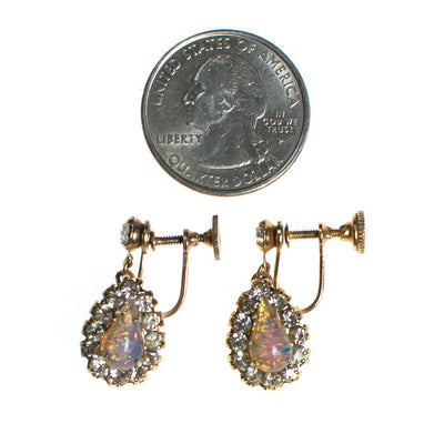 Vintage 1950s Opaline and Diamante Dangling Drop Earrings by 1950s - Vintage Meet Modern Vintage Jewelry - Chicago, Illinois - #oldhollywoodglamour #vintagemeetmodern #designervintage #jewelrybox #antiquejewelry #vintagejewelry
