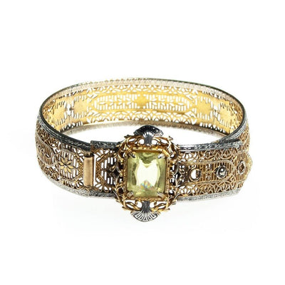 Vintage Edwardian Filigree Bracelet with Lemon Citrine Crystal Gold and Silver with a Buckle Clasp by Edwardian - Vintage Meet Modern Vintage Jewelry - Chicago, Illinois - #oldhollywoodglamour #vintagemeetmodern #designervintage #jewelrybox #antiquejewelry #vintagejewelry
