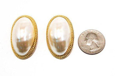 Givenchy Mabe Peral Earrings, Oval, Oversized, Couture, Designer, Runway, Clip-on