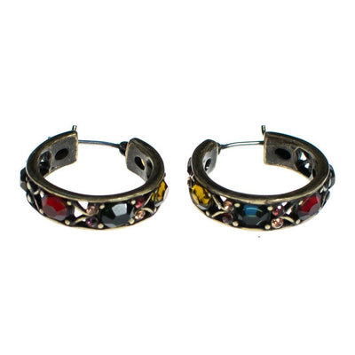 Vintage Hoop Earrings with Red, Green, Yellow, and Gold Rhinestones, Gold Tone Setting by 1980s - Vintage Meet Modern - Chicago, Illinois